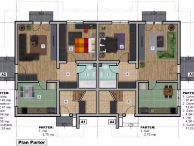 NOU!  Apartament decomandat 2 camere + curte mare / finisat + utilitati!