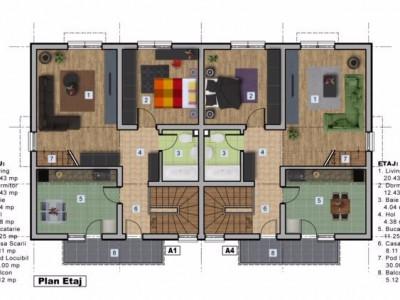 Apartament spatios in vila, 64 mp utili cu pod si 35 mp curte